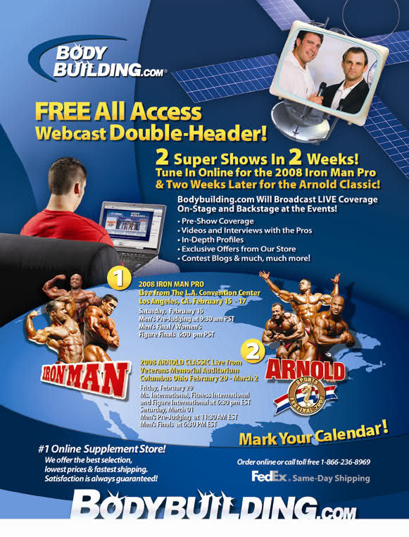 Watch the IRONMAN and ARNOLD for Free. Webcast info.