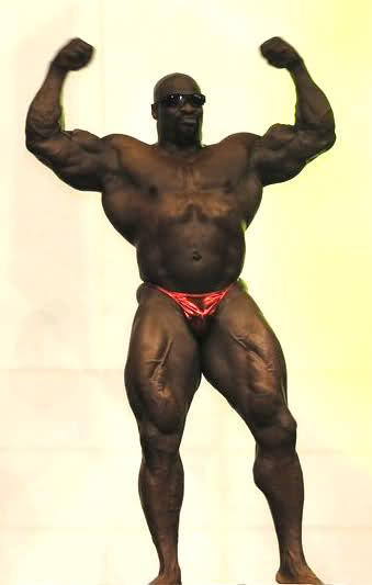 Ronnie Coleman posing at FIBO