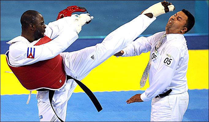 Cuban taekwondo fighter banned for life after kicking ref in the face