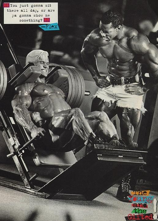 OLD PICS - LEE PRIEST TRAINING WITH FLEX WHEELER