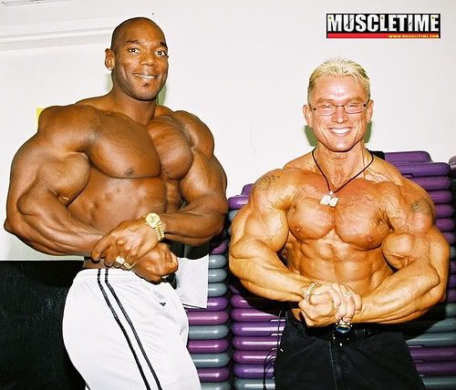 lee priest and flex wheeler at the 2002 OLYMPIA