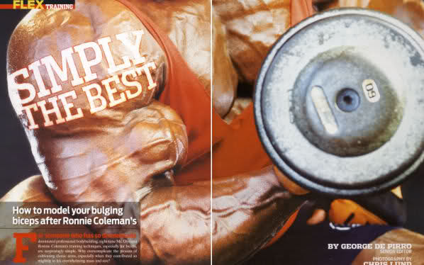 Ronnie Coleman training biceps scans