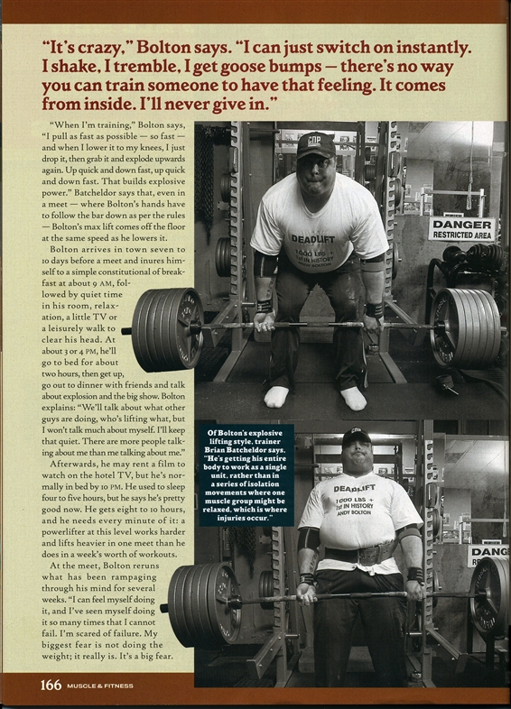 ANDY BOLTON'S ARTICLE - THE THUNDERBOLT STRIKES - 2806 LBS TOTAL (POWERLIFTER)