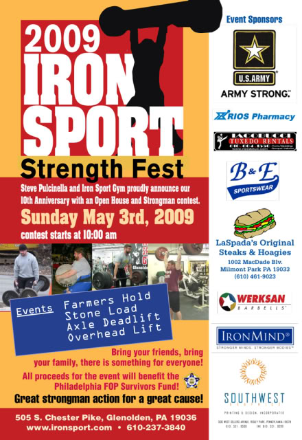 If you are in the Philadelphia are come join us for Strength Fest 2009!