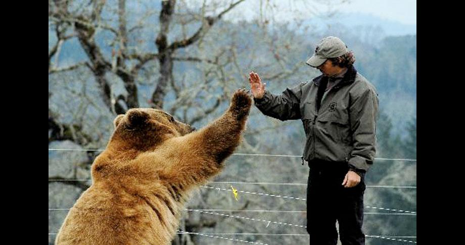 A man and his pet bear