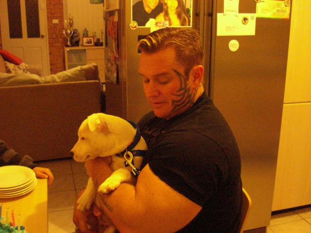 Lee Priest with his new dog