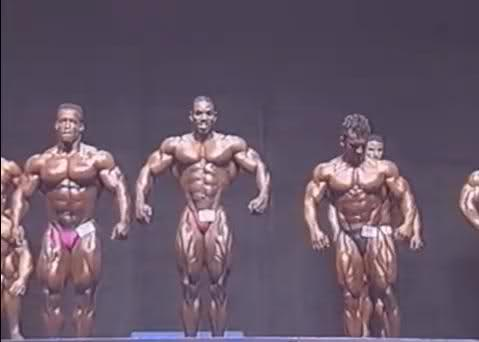 Flex Wheeler - 1993 Olympia prejudging comparisons (with Dorian and Shawn)