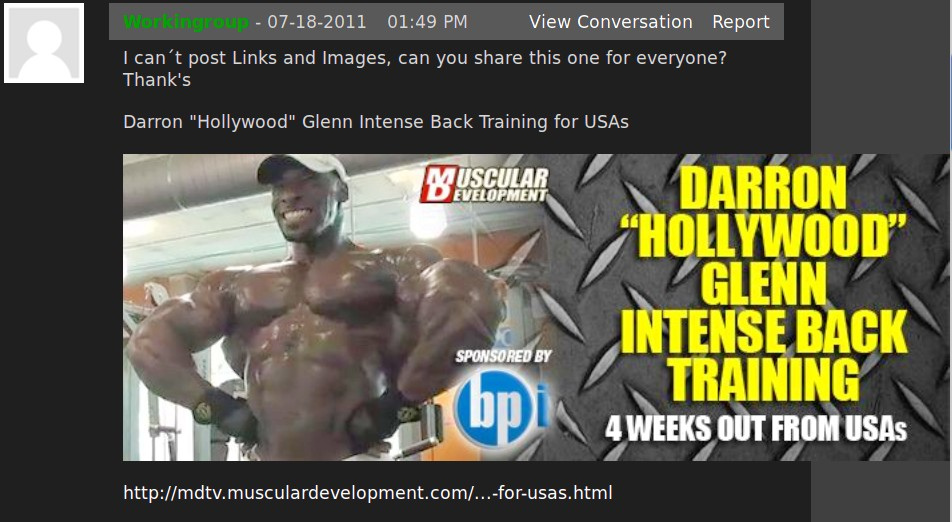 "Post for Darron ""Hollywood"" Glenn 4 wks Out From USAs"