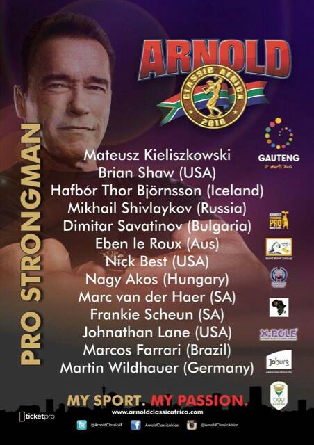South Africa to host the Arnold Classic in 2016