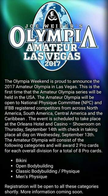 2017 olympia Amateur las vegas