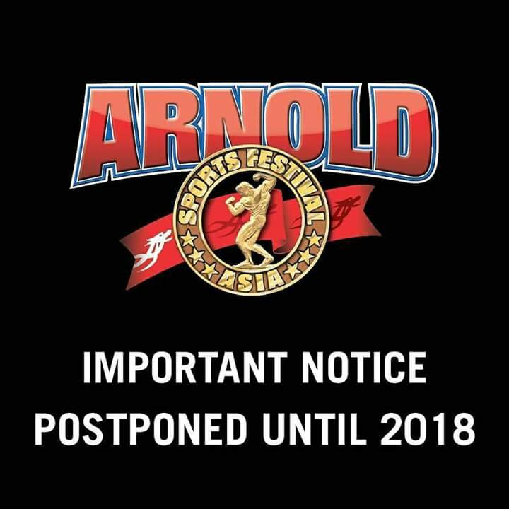2017 Arnold Classic Asia Canelled